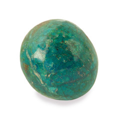 chrysocolla stone isolated on white