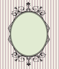 Black Floral Frame with copy space, Vertical shape