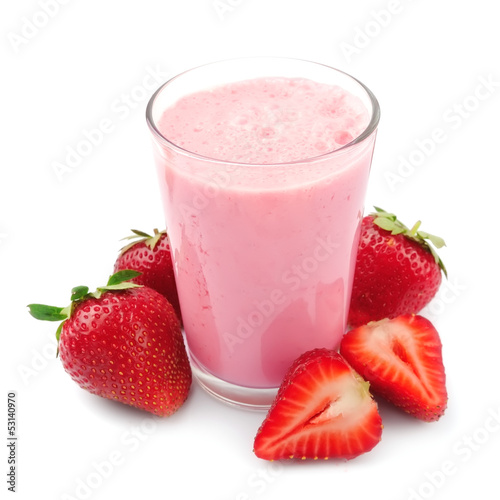 Fresh strawberry fruits and smoothies