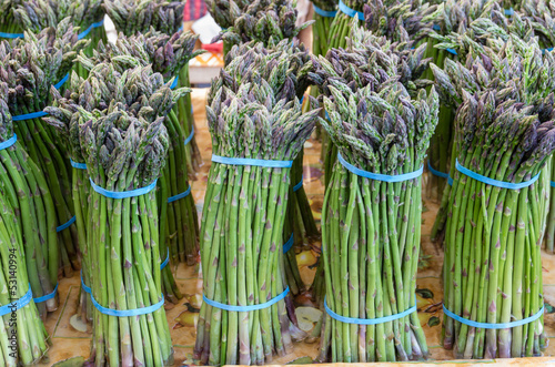 Fresh asparagus on display at the market