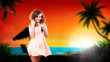 junge attraktive Frau mit Cocktail am Strand