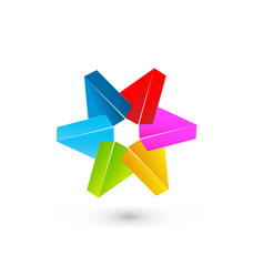 Colored 3D star logo vector