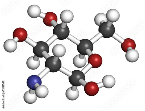 Glucosamine food supplement molecule.