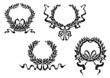 Heraldic laurel wreaths with ribbons
