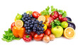 set of different fruits and vegetables  on white background - 53144147
