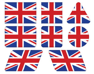 set of buttons with Union Jack flag