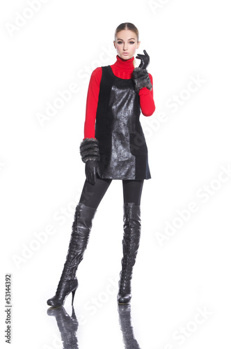 young casual man full body fashion woman with gloves posing