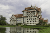 Modern thai building in the public park of Thailand poster