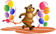 A bear running in the middle of colorful balloons