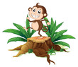 A monkey dancing on a stump with leaves
