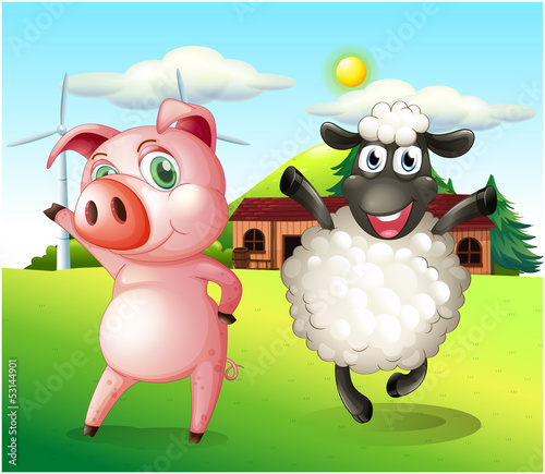 A pig and a sheep dancing at the farm with a windmill