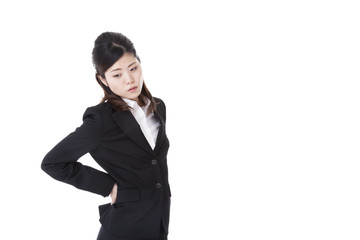 business woman who are troubled with low back pain