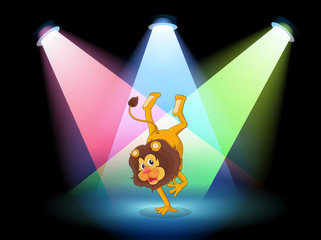 A lion performing in the middle of the stage