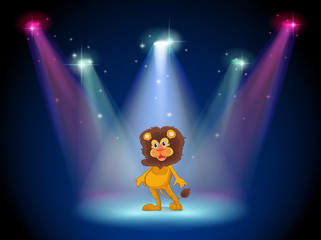 A stage with a brave lion in the middle