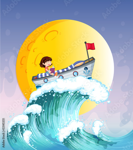 A girl reading on a boat at the top of the big wave