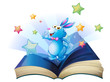 A book with a bunny surrounded with stars