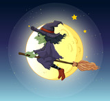A witch riding with her broomstick