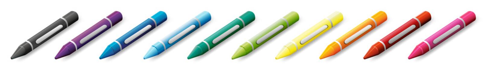 Ten colorful crayons