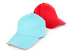 Red and blue caps cap isolated on white