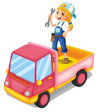 A girl standing above the pink truck