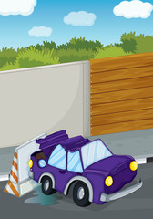 A violet car bumping the wall