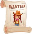 A poster of a wanted cowgirl