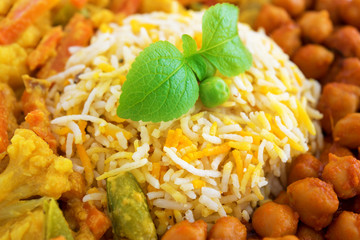 Vegetarian biryani rice close up