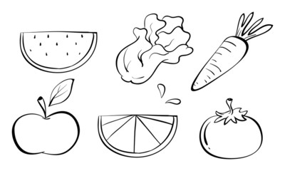 Doodle sets of fruits