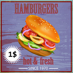 Tasty fresh delicious hamburger poster.Vector illustration