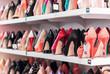 Leinwanddruck Bild - Background with shoes