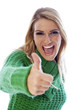 Girl with thumbs up sign