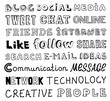 Social media vector sketch text