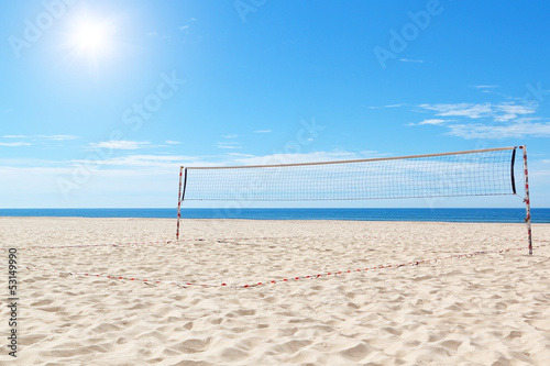 poster of Beach a volleyball court at sea. Summer.