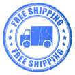 Vector free shipping blue stamp