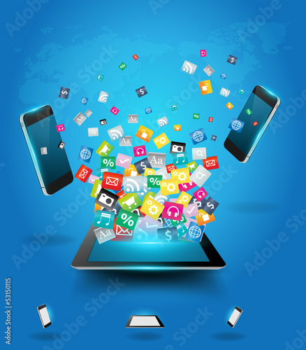 Tablet computer with mobile phones cloud application icon