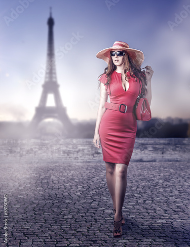 Fashion beautiful woman in Paris, France