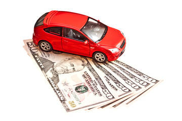 Car and money. Concept for buying, renting, insurance, fuel, ser