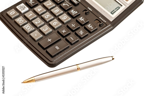 Business picture: calculator and pen isolated on white backgroun