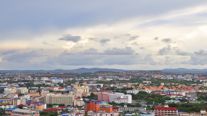 Time lapse of Town with cloud sky - Pattaya town , Thailand