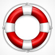 Red life buoy on white
