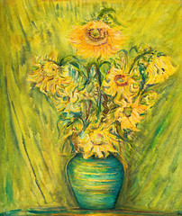 Vivid Sunflowers Bouquet Over Green Background