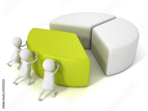 team group of three 3d men push part of pie chart