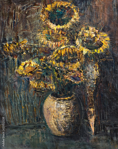 Withered Sunflowers Bouquet on Dark Brown Background