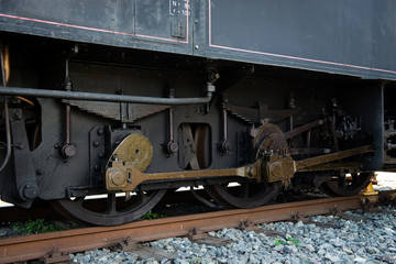 detail of steam locomotive wheels