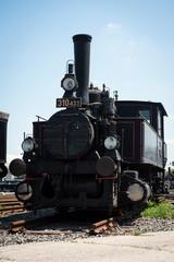 Front view of vintage steam locomotive