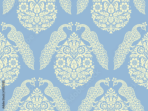 Birds On Tree Seamless Pattern Vector