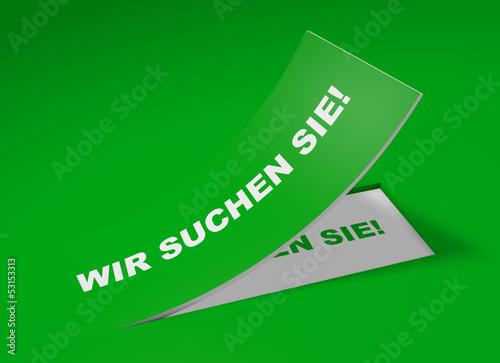 3D Etikett Grün - Wir suchen Sie!
