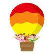 気球に乗る子供とペット