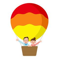 気球に乗る夫婦