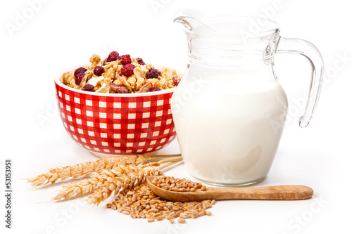 bowl of oat flake, and fresh milk, on white background. health a